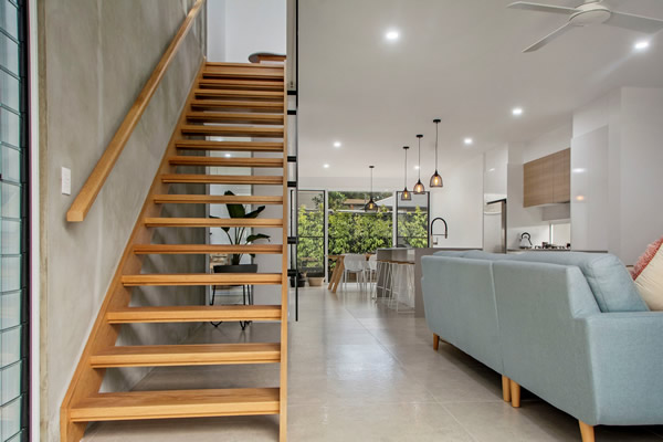 open tread timber stairs