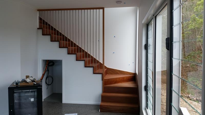 Closed stairs timber screen
